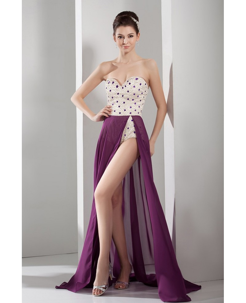 A-line Sweetheart Floor-length Chiffon Prom Dress With Split