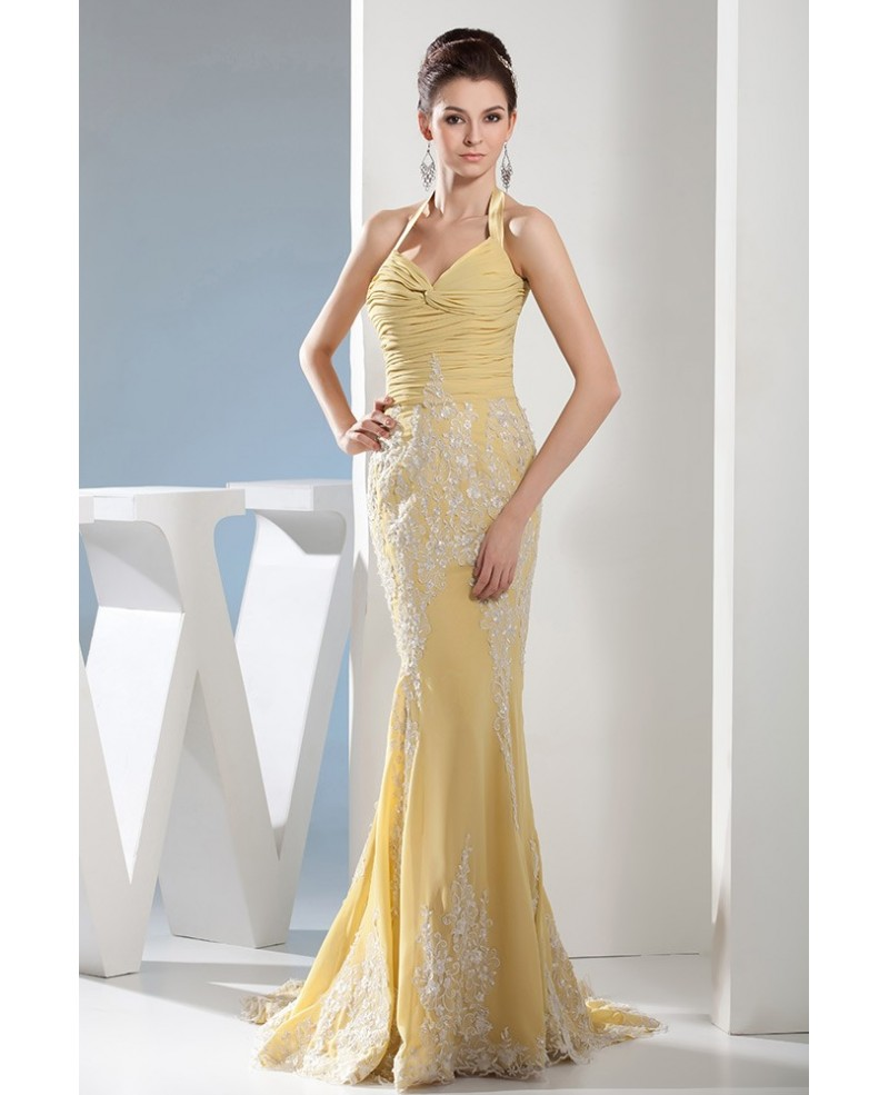 Mermaid Halter Sweep Train Chiffon Prom Dress With Appliques Lace