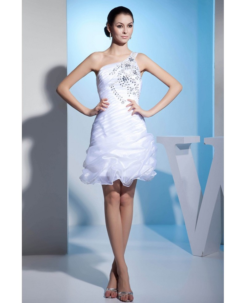 A-line One-shoulder Short Tulle Prom Dress With Beading