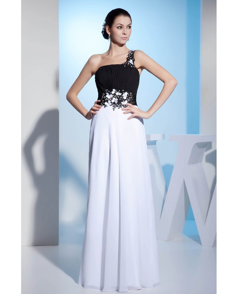 A-line One-shoulder Floor-length Chiffon Prom Dress With Beading