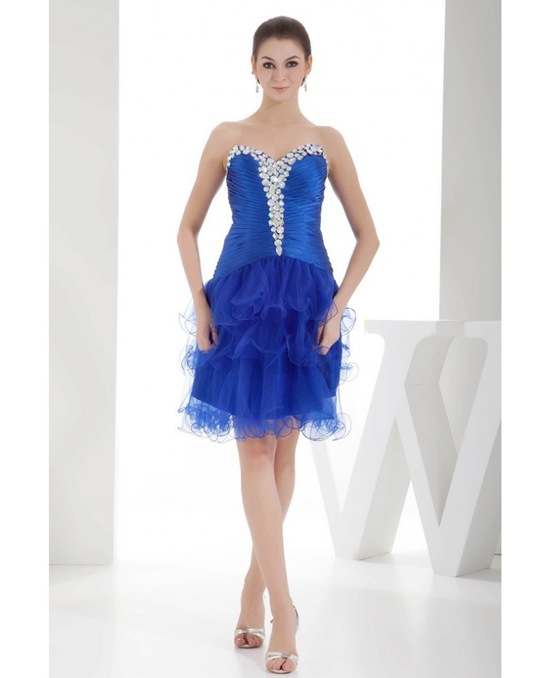 A-line Sweetheart Knee-length Satin Tulle Prom Dress With Beading