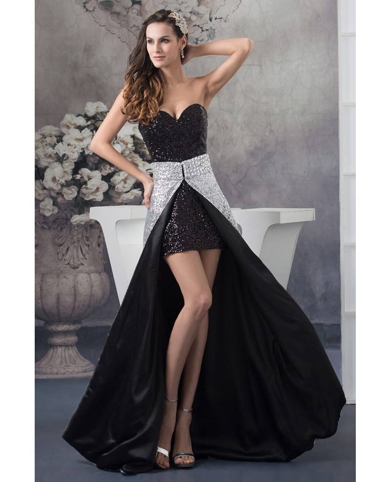 Detachable A-line Sweetheart Asymmetrical Sequined Prom Dress
