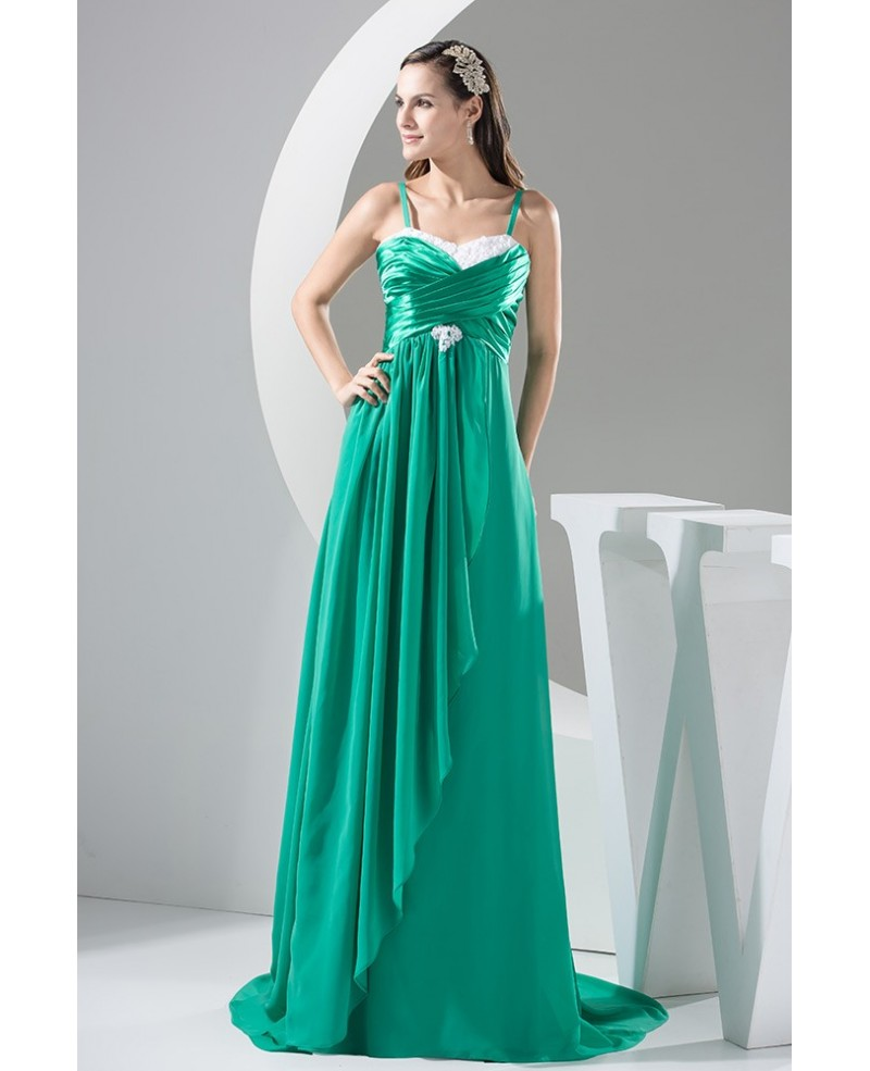 Long Green Sweep Train Chiffon Prom Dress with Spaghetti Straps