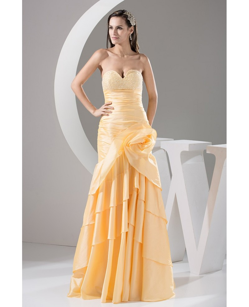 Gold Taffeta Sweetheart Long Prom Dress With Beading