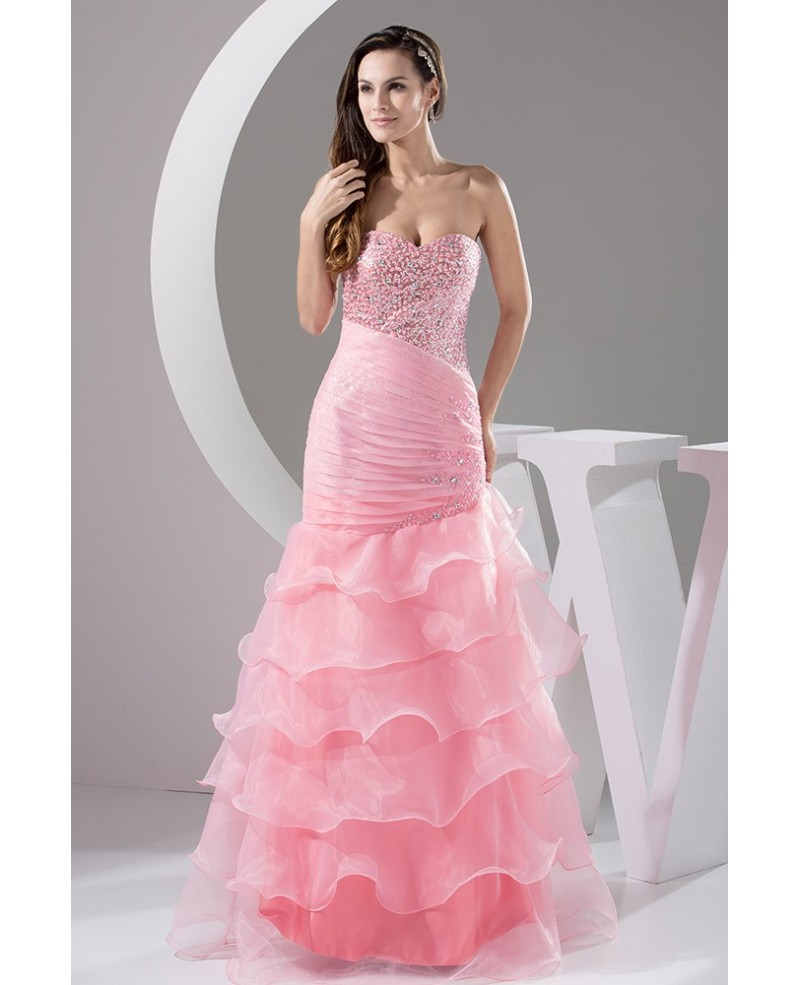 Blush Pink Sparkly Sweetheart Long Tulle Ruffle Prom Dress