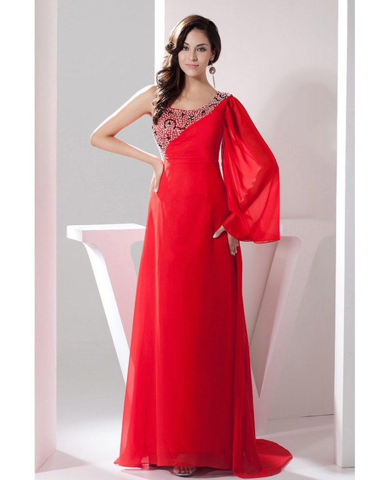 Hot Red One-shoulder Sleeve Chiffon Beaded Evening Dress With Sweep Train