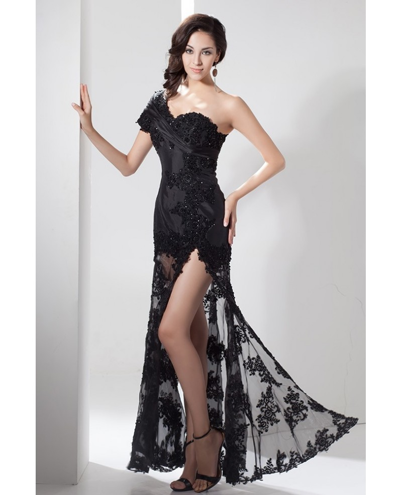 Black One-shoulder Long Lace Beaded Evening Dress With Split Front