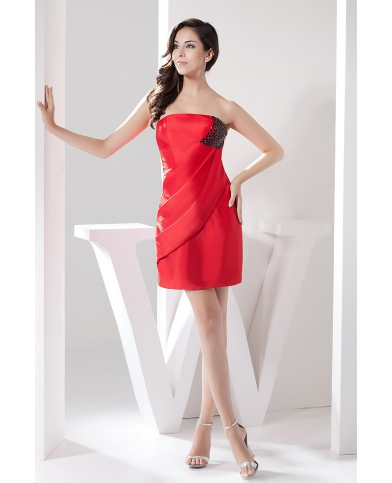 Red Sheath Strapless Short Satin Cocktail Dress With Beading