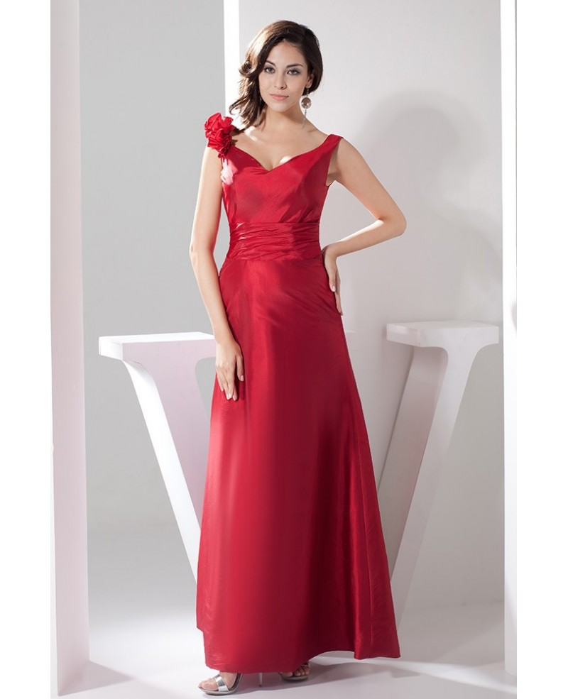 Deep Red V Neck Floor-length Satin Evening Dress