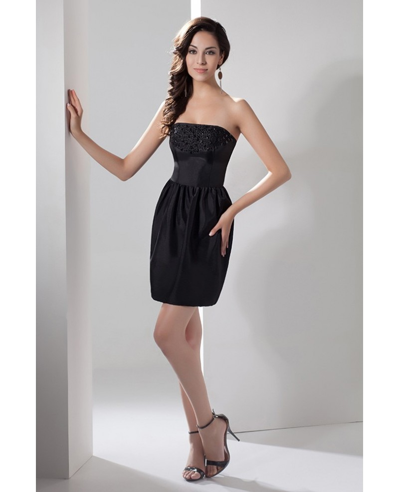 Sheath Strapless Short Satin Cocktail Dress With Beading