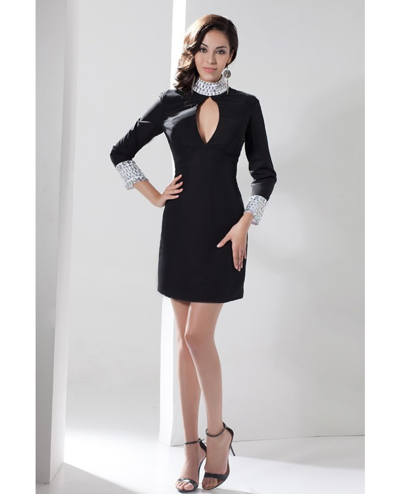 Black Sheath High Neck Short Satin Dress With Beading