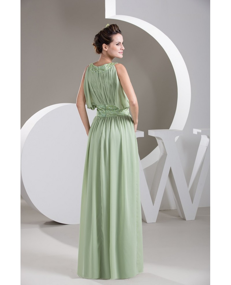 Green High Neck Floor-length Chiffon Prom Dress With Beading