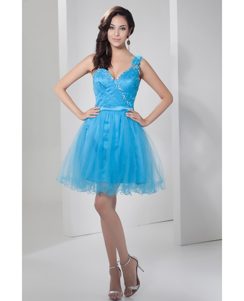 Blue A-line One-shoulder Short Tulle Prom Dress With Beading