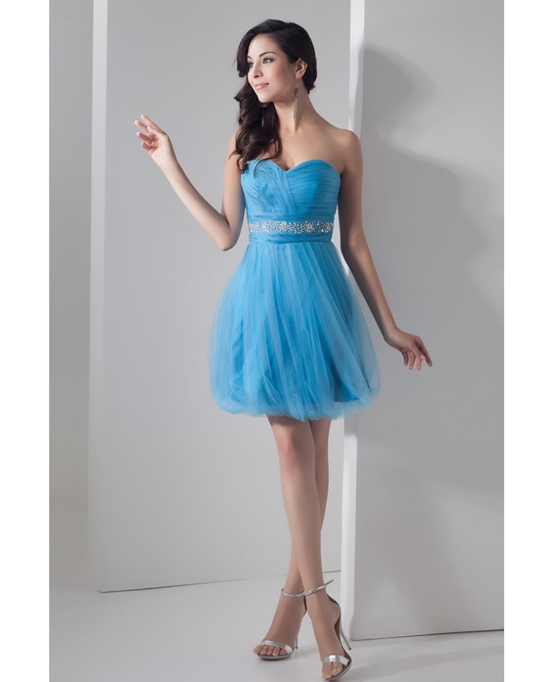 Cute Blue A-line Sweetheart Short Tulle Prom Dress With Beading