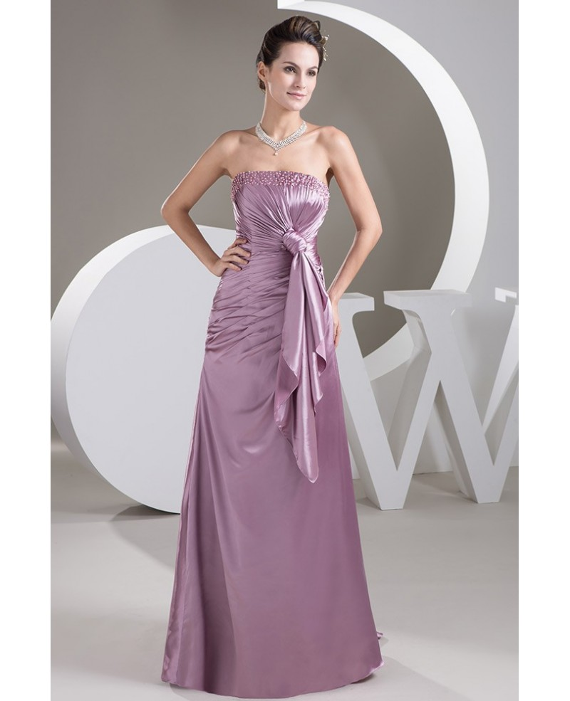 Pearl Pink Strapless Floor-length Satin Evening Dress With Beading