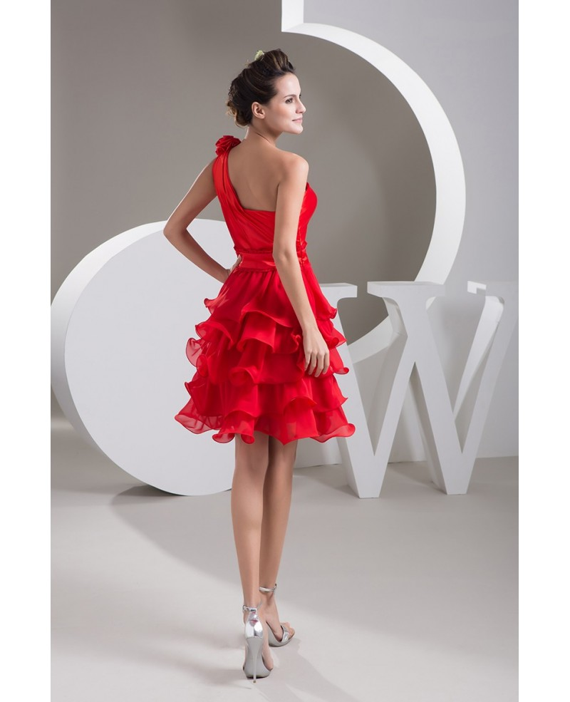 Hot Red A-line One-shoulder Short Chiffon Wedding Dress With Ruffle