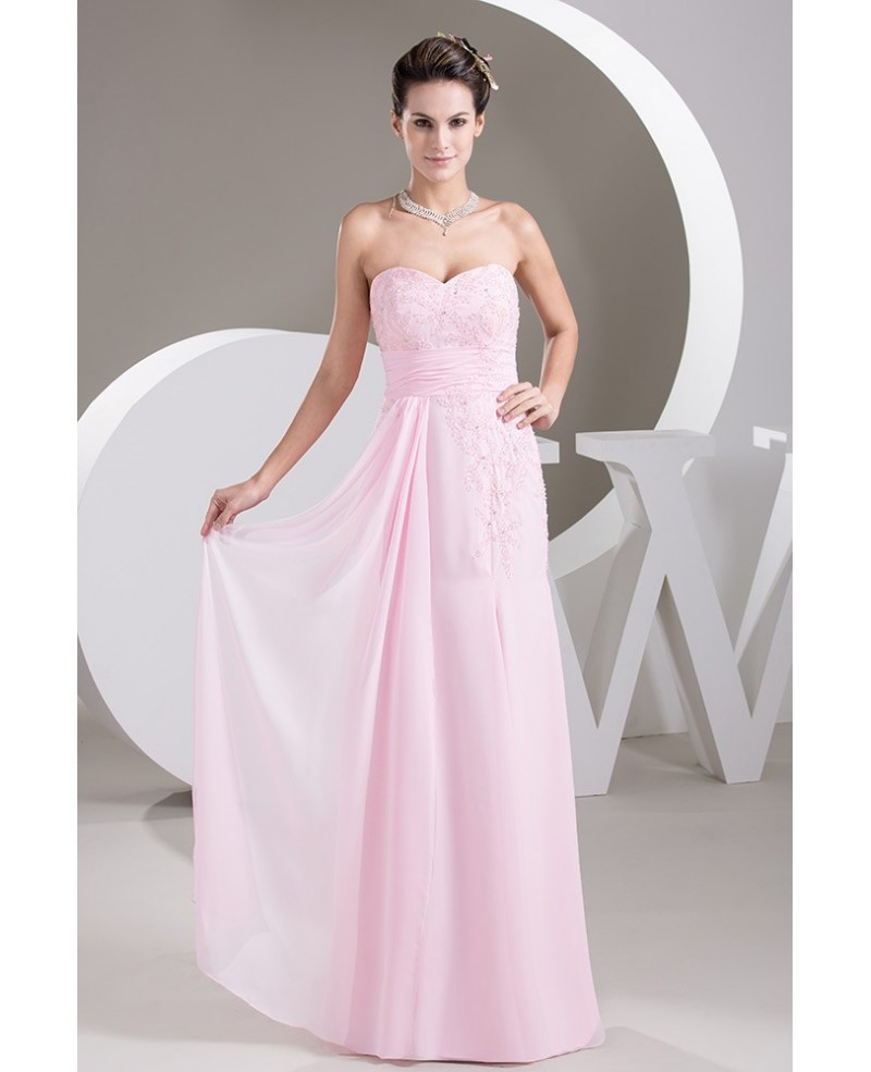 Blush Pink A-line Sweetheart Floor-length Chiffon Prom Dress With Beading
