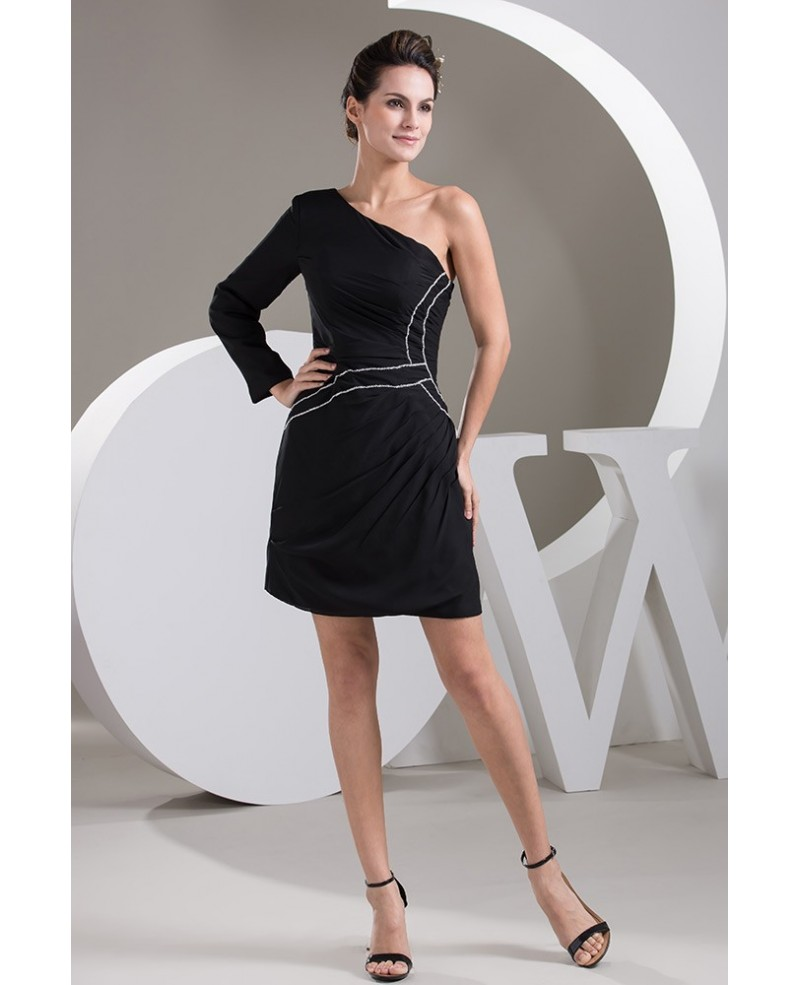 Short Black One shoulder Sleeve Simple Satin Dress