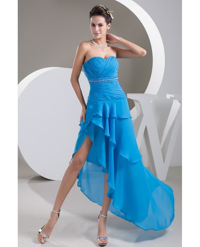 Blue Sweetheart Asymmetrical Chiffon Prom Dress With Beading