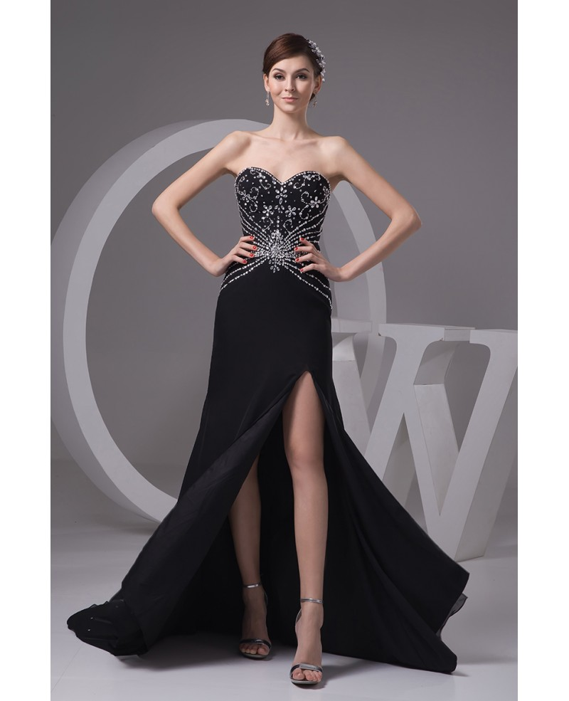 Sheath Sweetheart Court Train Chiffon Prom Dress With Beading