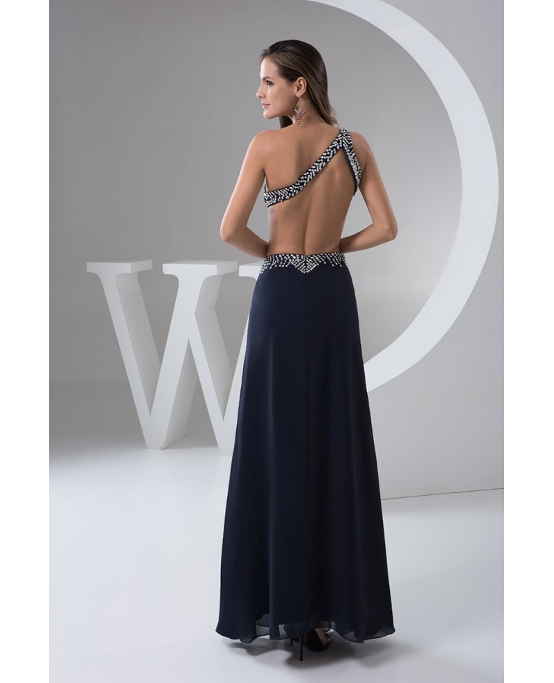 Black Shining One-shoulder Floor-length Chiffon Prom Dress With Beading