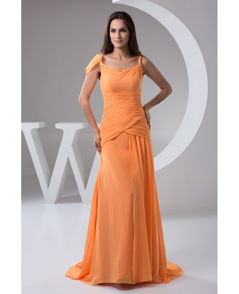 Sheath Scoop Neck Sweep Train Chiffon Evening Dress
