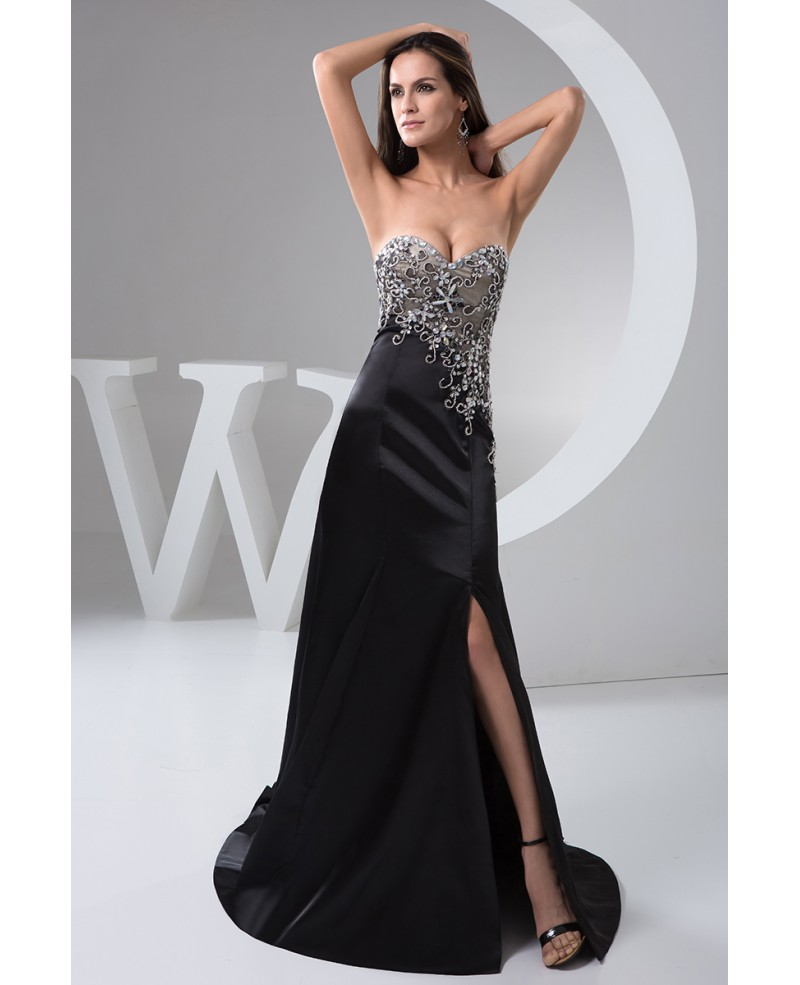 A-line Sweetheart Sweep Train Satin Evening Dress With Split