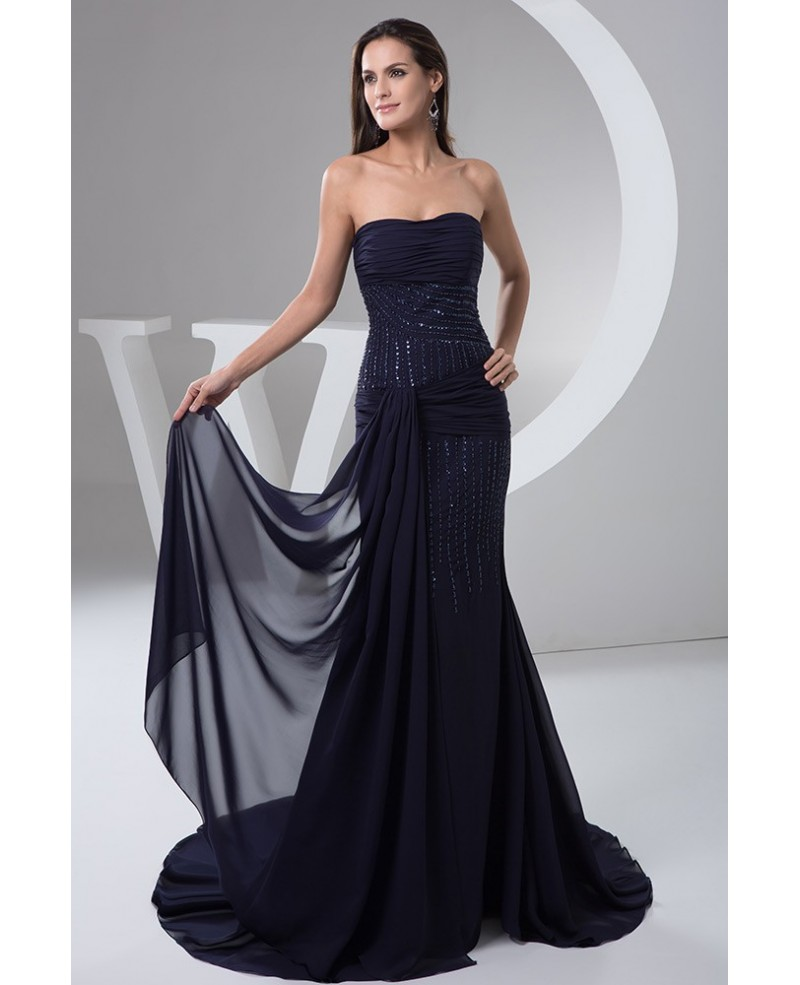 Dark Navy Bling-bling Mermaid Strapless Chiffon Evening Dress with Sweep Train