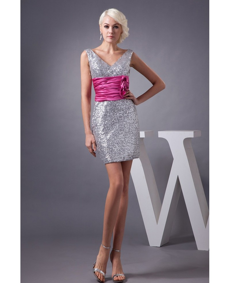 Silver Sparkly Sequined Cocktail Prom Dress with Color Sash