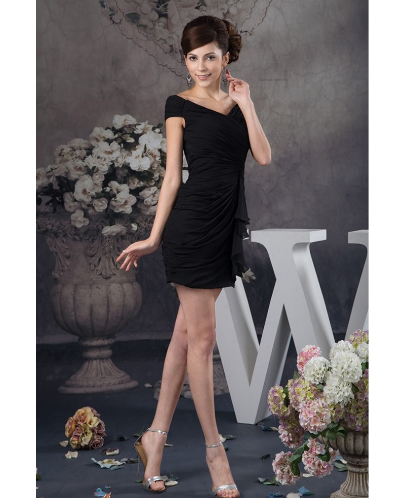 Sexy Black Sheath Pleated Chiffon Cocktail Prom Dress with Sweetheart Neck