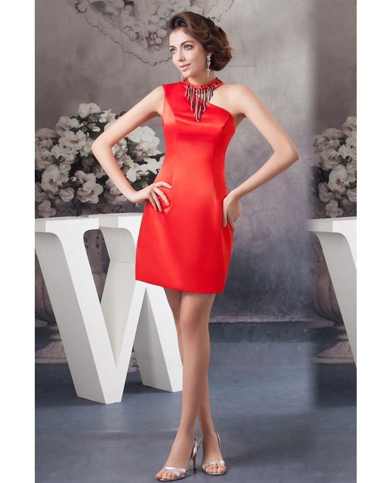 Sexy Hot Red One-shoulder Strap Satin Cocktail Prom Dress with High Neck