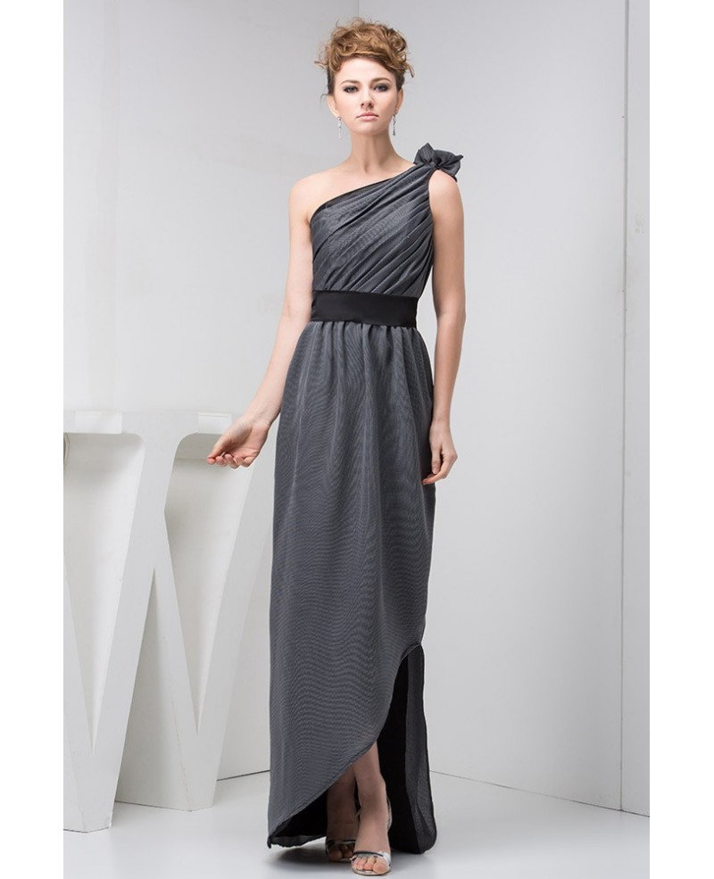 Grey and Black One-shoulder Long Pleated Formal Dress for Evening