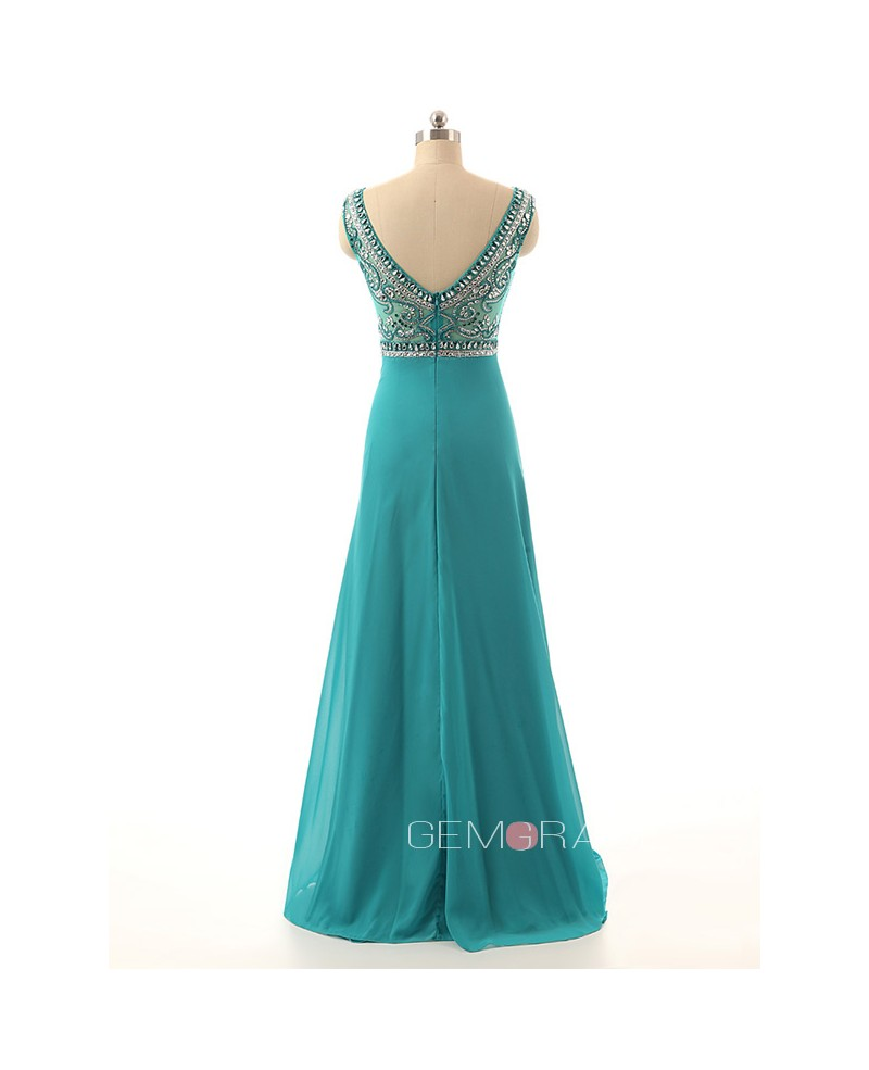 A-Line Scoop Neck Floor-Length Chiffon Prom Dress With Beading