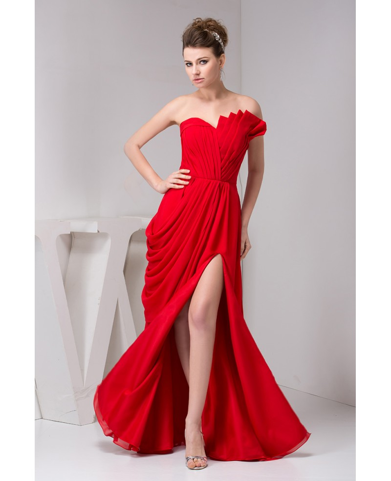 A-line Sweetheart Floor-length Chiffon Evening Dress With Split