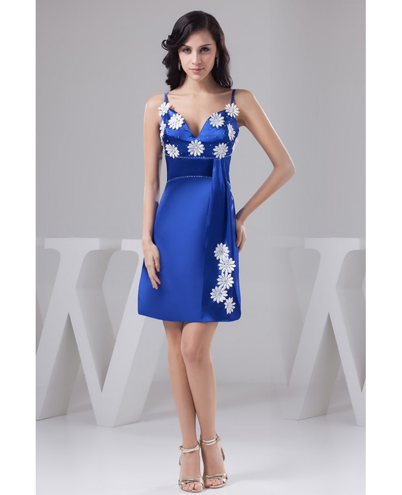 Royal Blue A-line Short Satin Homecoming Dress with Hand-made Flowers