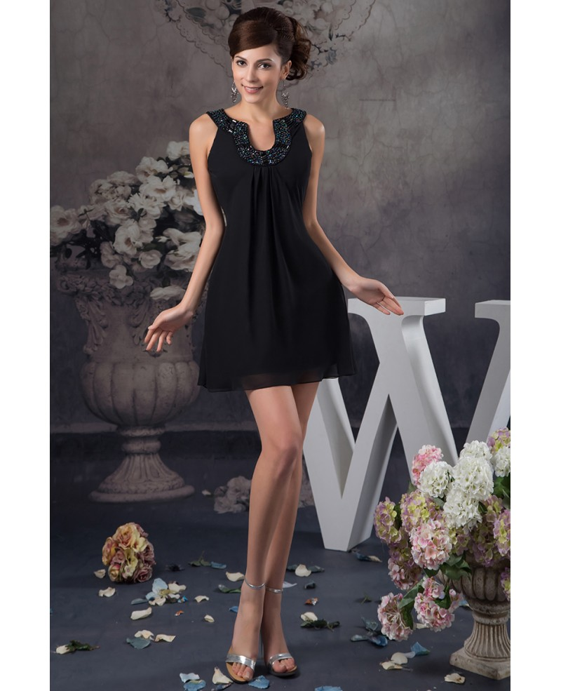 A-line Short Chiffon Cocktail Dress With Beading