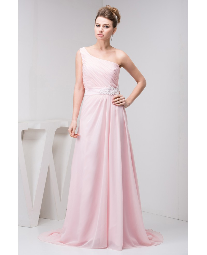 A-line One-shoulder Sweep Train Chiffon Prom Dress With Beading