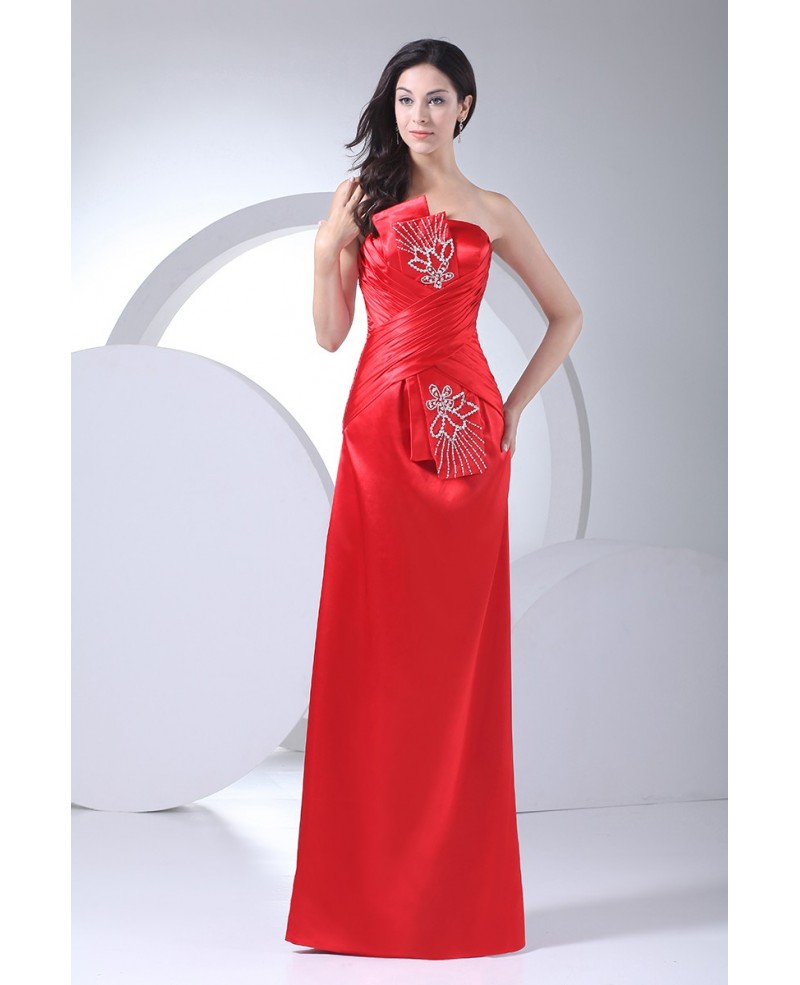 Red Strapless Floor Length Beaded Satin Party Dress