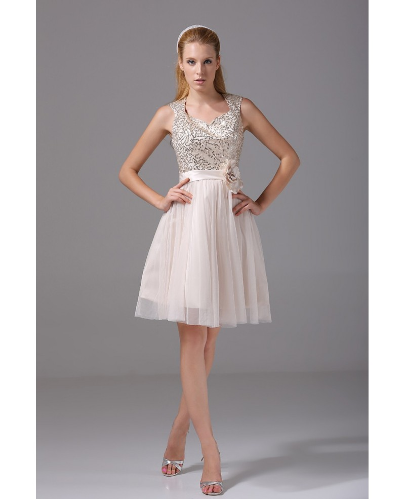 Sparkly Sequined Short Tulle Party Dress with Sash
