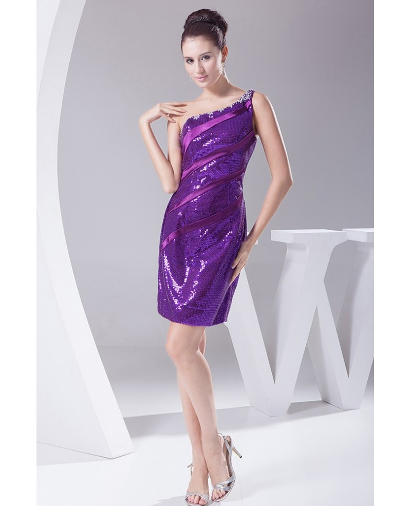 Purple Sparkly Sequins Sexy Cocktail Party Dress in One Shoulder Strap