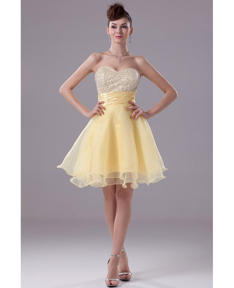 Sparkly Sequins Yellow Organza Short Prom Dress