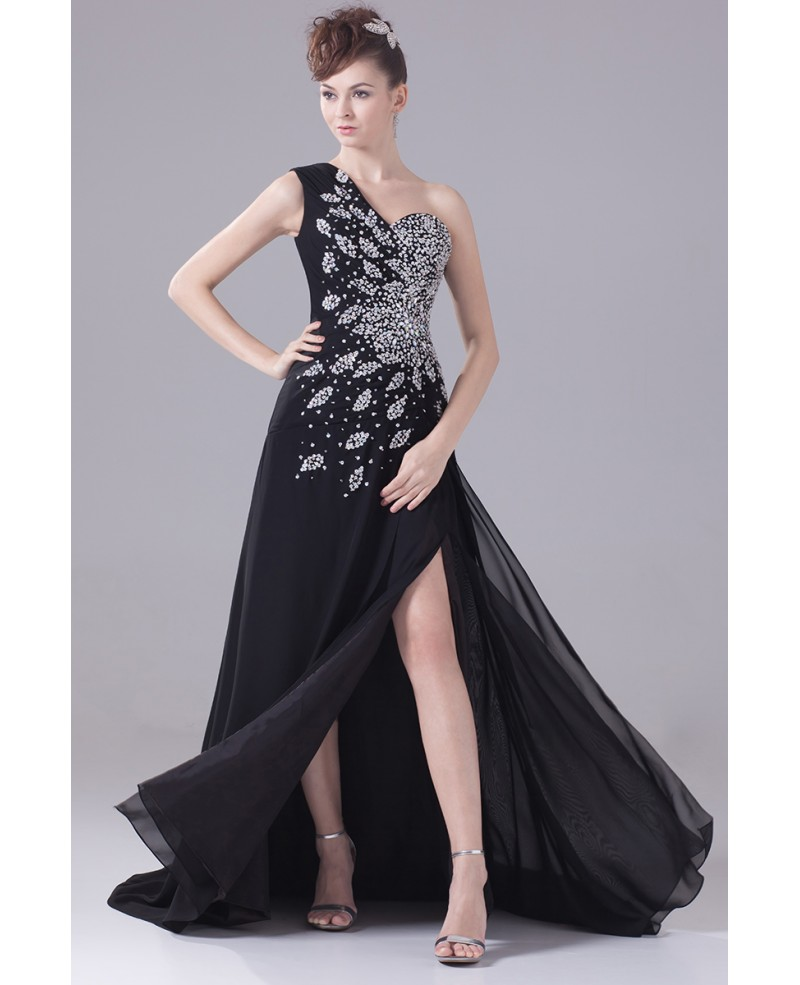 Long Formal Sequined One Shoulder Prom Dress with Split Front