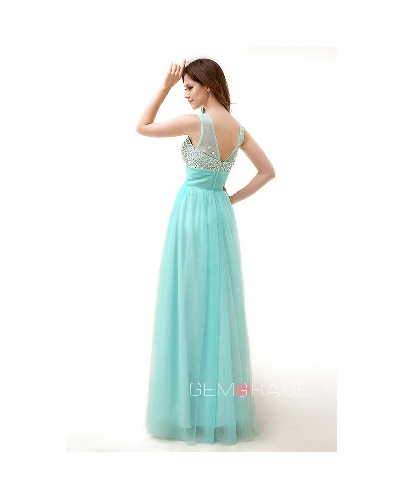 A-Line Scoop Neck Floor-Length Chiffon Prom Dress With Ruffle Beading