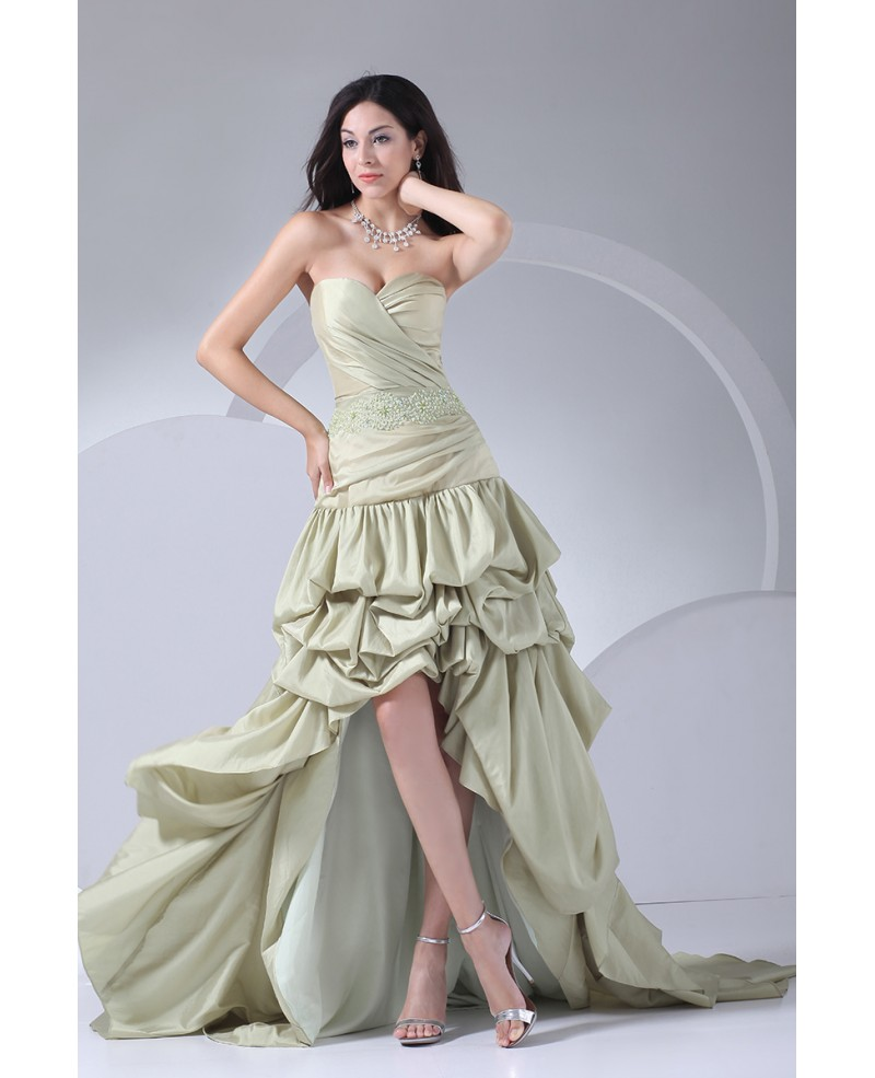 Sage Green Sweetheart Ruffled High Low Prom Dress with Beading
