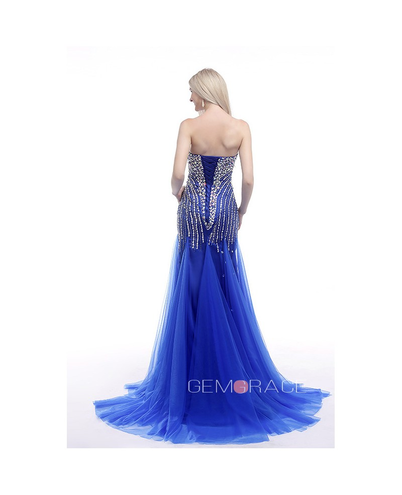 Mermaid Sweetheart Sweep Train Tulle Prom Dress With Beading Sequins