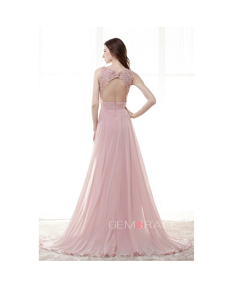A-Line Scoop Neck Sweep Train Chiffon Prom Dress With Beading Applique Lace