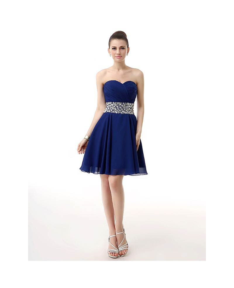 Blue Little Short Pleated Sweetheart Beaded Waist Mini Chiffon Prom Dress