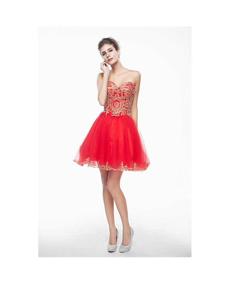 Red Mini/Short Strapless Beaded Top Tulle Sparkly Puffy Prom Dress