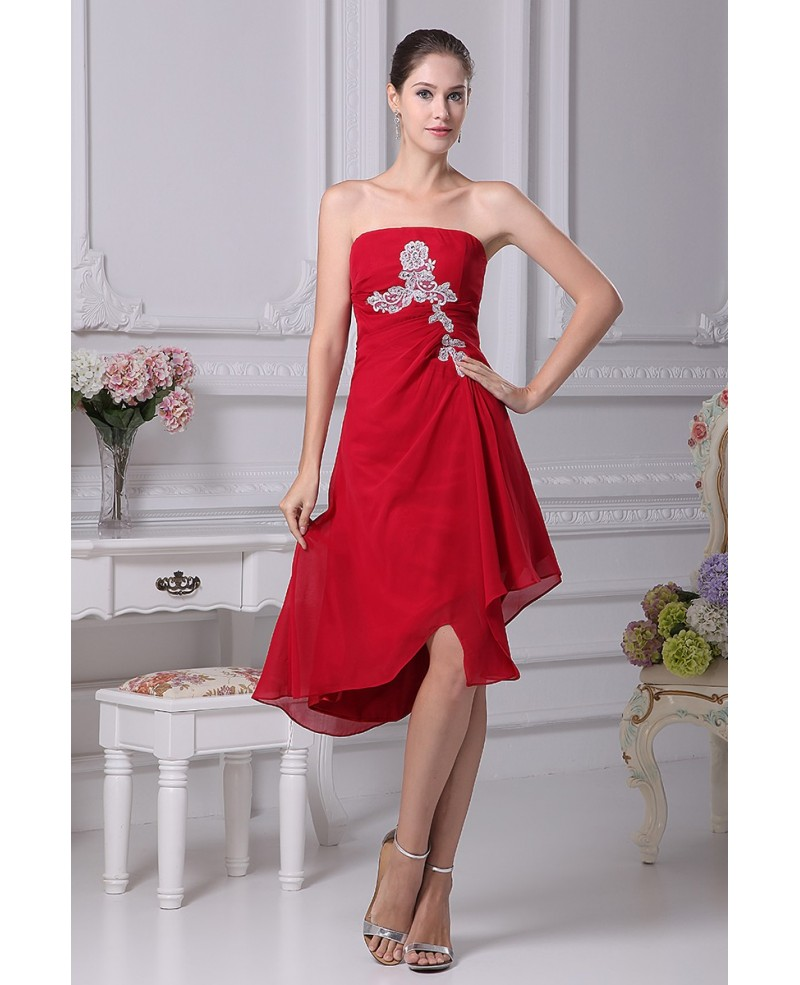 Red with White Lace Strapless Short Chiffon Dress