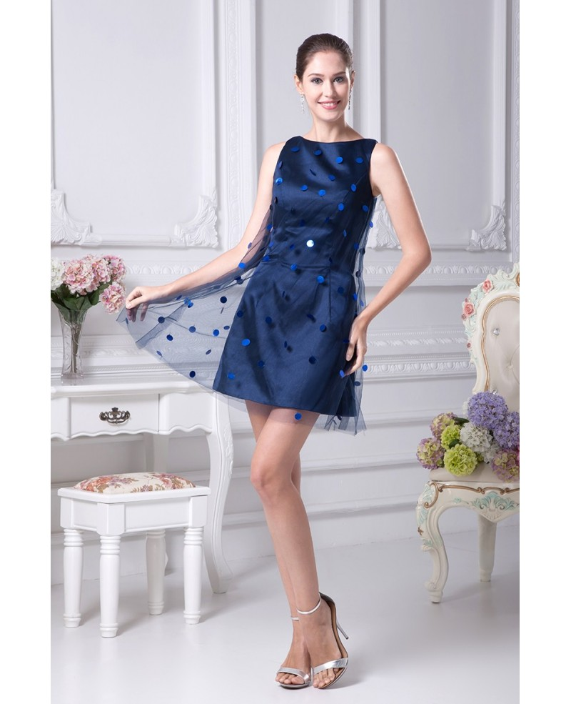 Scoop Neck Navy Blue Cocktail Tulle Dress without Sleeves